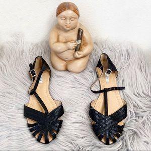 Kimchi blue t-strap metallic flat sandals